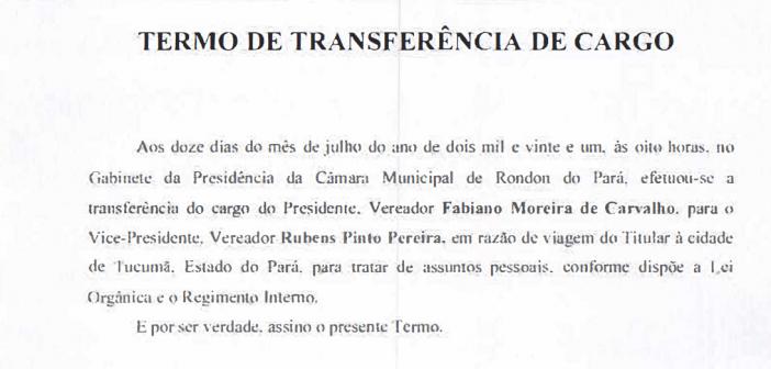 Vice-presidente Vereador Rubens Assume a Presidência da Câmara Municipal